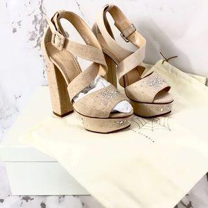 NEW Charlotte Olympia Edna linen crystal heels